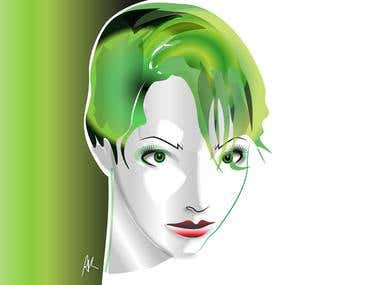 Vector Illustration Series - Green Hair Girl
