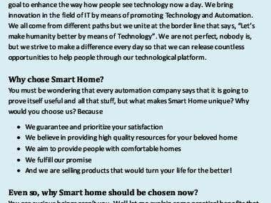 Home Automation Company Content