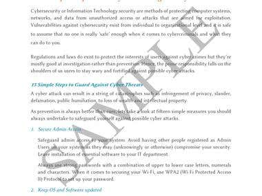 Sample Article on Cybersecurity