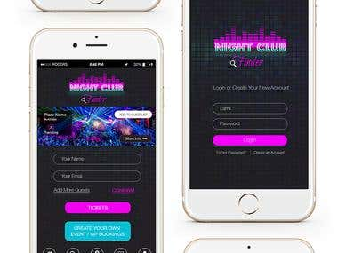 Mobile app Design + Logo - Night Club Finder