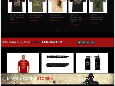 eCommerce website for Marinecorps