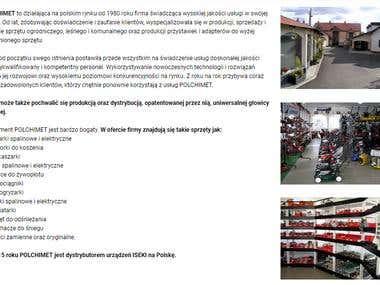 Teksty na stronę główną oraz podstrony www.polchimet.pl