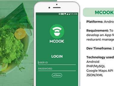 MCOOK - App for resturant management.