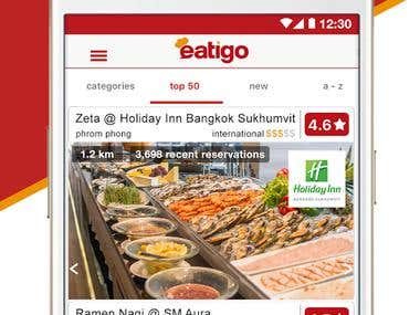 Restaurant Booking/food ordering mobile app