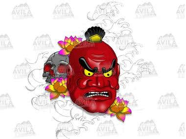 Japanese Mask Illustration