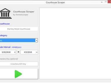 User Interface - Atty Email Scraper