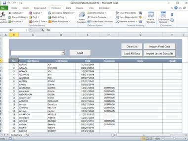Excel Automation - Common Patient User Interface