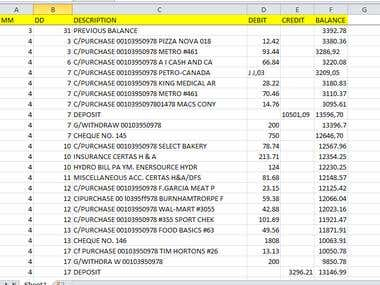 PDF Bank Statement to Excel