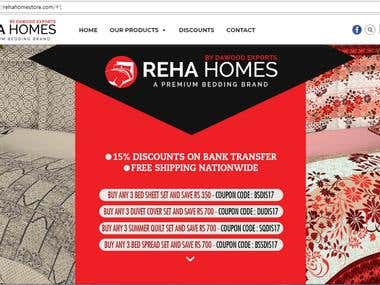 RehaHomes (An Ecommerce site for a textile company)