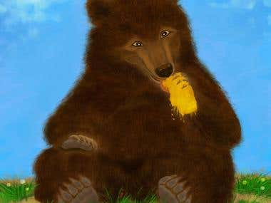 Bear with honeycombs illustration for children