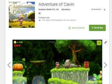 Adventure of cavin (Android Game unity 3d)