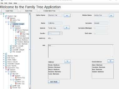 Java JFamilyTree Application