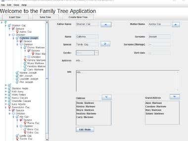 Java JFamilyTree Application
