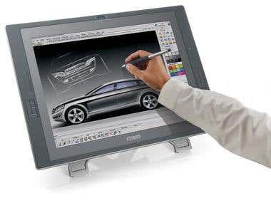 Industrial Designer working on Wacom Cintiq 21 tablet