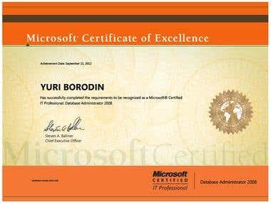 Certificate MCITP Database Administrator 2008