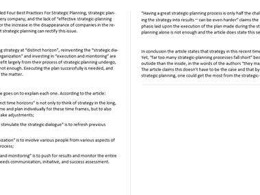 Summary for BCG Four best practices for strategic planning