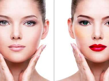 photo editing. recoloring, make up