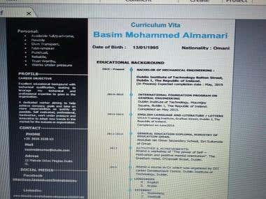 CV ( Mechanical Eng Resume).