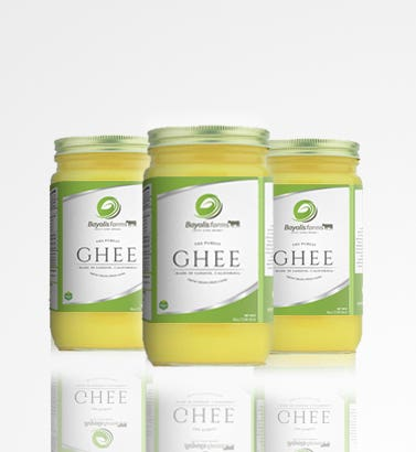 Ghee packaging design of bayolis farms.