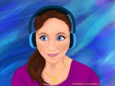 Digital illustration of a girl with headphones