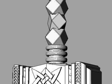 [3D MODELLING FOR JEWELRY] hammer with symbols