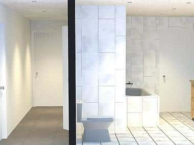 The design and project of a bathroom and office