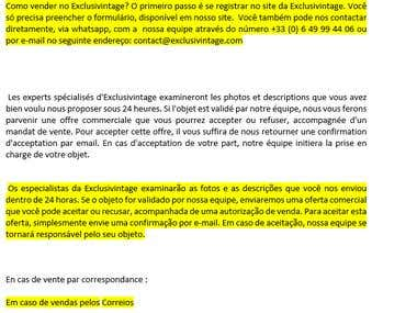 Translation of a website from French into Portuguese