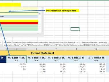 Financial Modeling - Date Columns Auto Roller