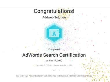 AdWords Search Certoficate