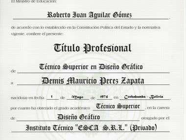 Certificado Titulo en Provision Nacional