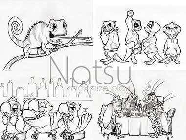 Cartoon animal line art