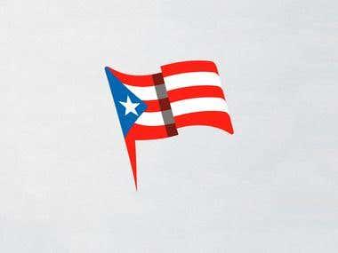 PUERTO RICO FLAG ILLUSTRATION