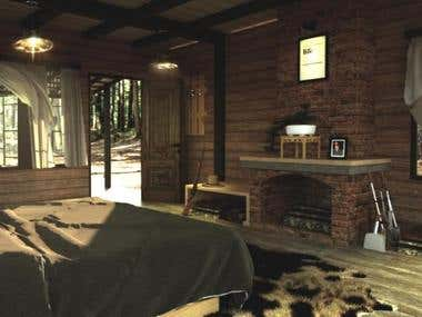 Interior Visualization | Cabin in The Woods