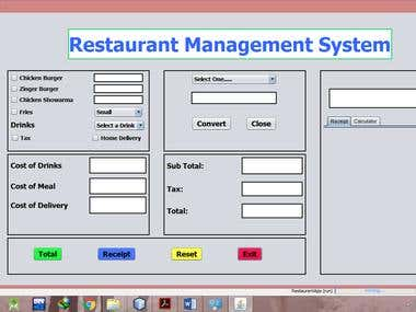 Restaurant Management System using Java