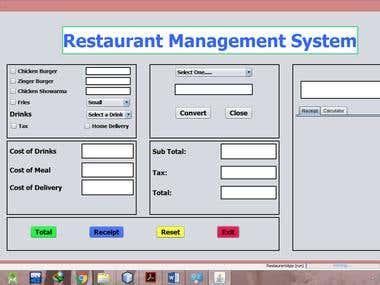 Restaurant Management System using Java