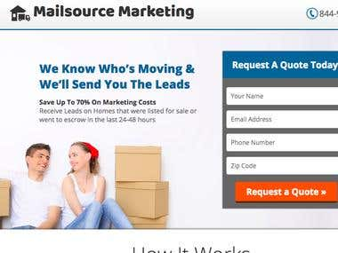 MailSource Leads Webpage & Email Campaigns