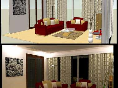 3d modeling and rendering of living room