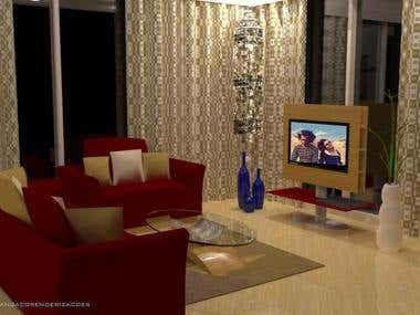 Render of living room with TV