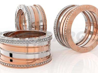 Jewelry ring 3D modeling and rendering.