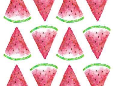 Watercolor Watermelon Pattern