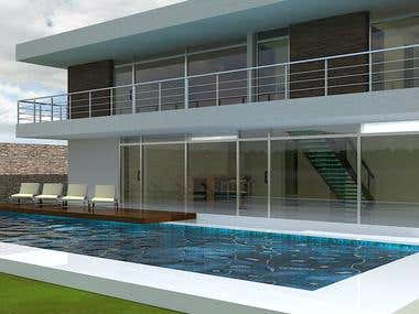 House with pool (3d model + render)