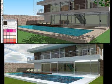 House with pool (before and after render)