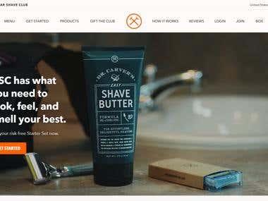 Shaveclub website using Magento platform