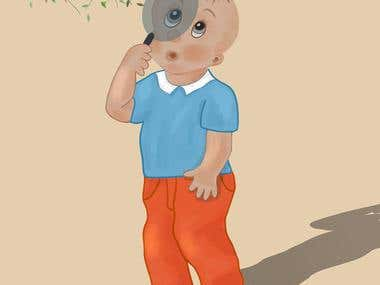 a boy with a magnifying glass