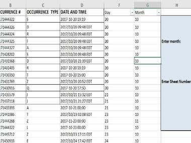 Data transfer and reset on multiple sheets