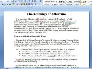 Research Article on Shortcomings of Ethereum
