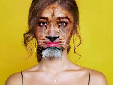 Morphing animal face with human face