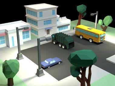 Low poly 3D city