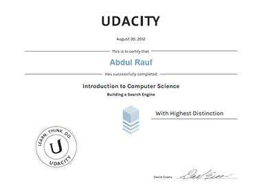 UDACITY CS101 certificate