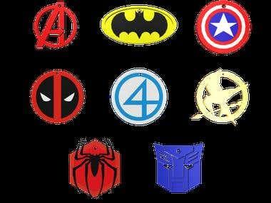 Avengers Super Heroes Logos 3D Model